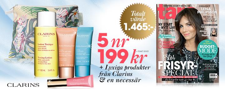 Din prenumerationspremie: Lyxiga produkter från Clarins och en necessär